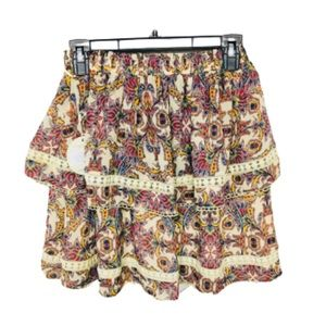 The Jetset Diaries   Floral Tiered Boho Mini Skirt
